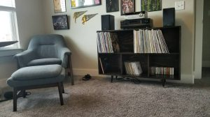 The shelf, finally, with some records on it